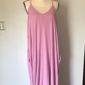 Purple maxi dress with pockets